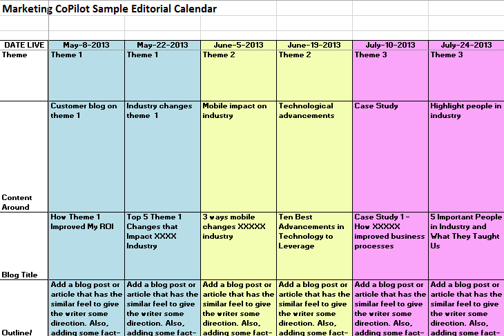 sample editorial calendar